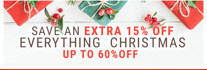 Save an Extra 15% Off Everything Christmas