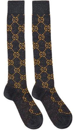Gucci - Navy Crystal GG Socks