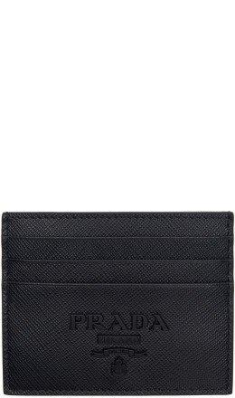 Prada - Black Saffiano Logo Card Holder