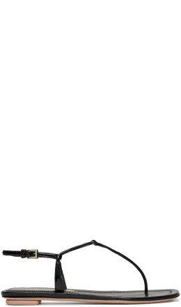 Prada - Black Patent T-Strap Sandals