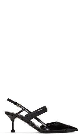 Prada - Black Leather Slingback Heels