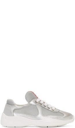 Prada - Silver & White Leather & Mesh Sneakers