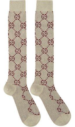 Gucci - Off-White Crystal GG Socks