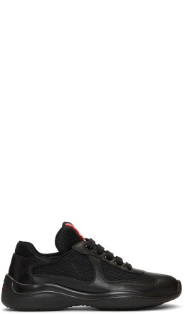 Prada - Black Leather & Mesh Lace-Up Sneakers