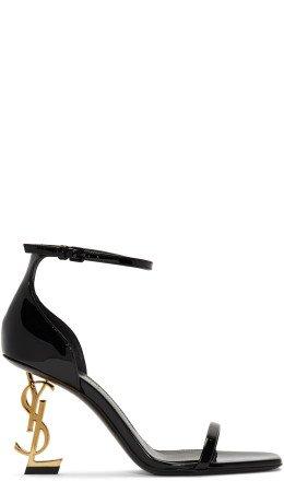 Saint Laurent - Black & Gold Patent Opyum Sandals