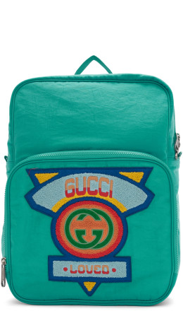 Gucci - Blue Large 80's Logo Backpack