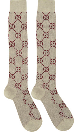 Gucci - Off-White Crystal GG Socks