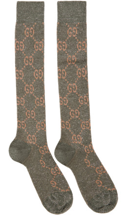 Gucci - Grey Crystal GG Socks