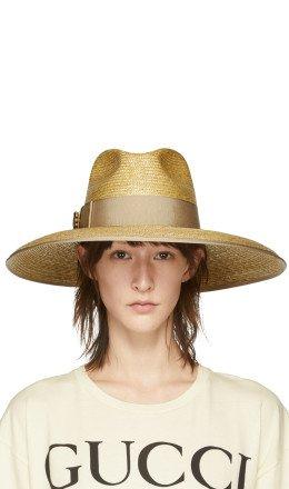 Gucci - Beige GG Crystal Straw Hat