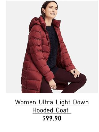 WOMEN ULTRA LIGHT DOWN HOODED COAT $99.90