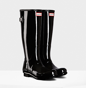 Women's Original Adjustable Gloss Rain Boots: Black