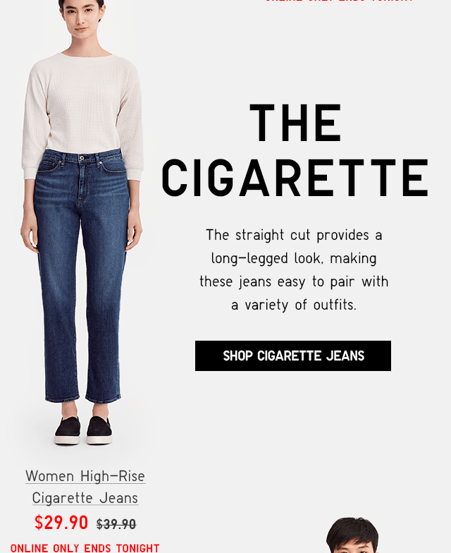 WOMEN HIGH-RISE CIGARETTE JEANS $29.90 - SHOP CIGARETTE JEANS