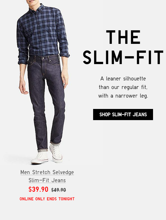 MEN STRETCH SELVEDGE SLIM-FIT JEANS $39.90 - SHOP SLIM-FIT JEANS