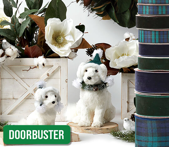 Holiday Floral, Containers, Ribbon, Bows and Decorative Mesh.