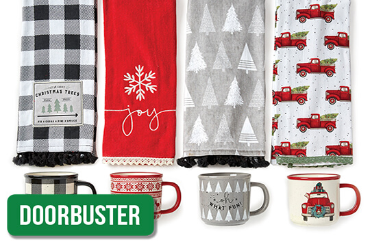 Maker's Holiday Camper Mugs and Towels.