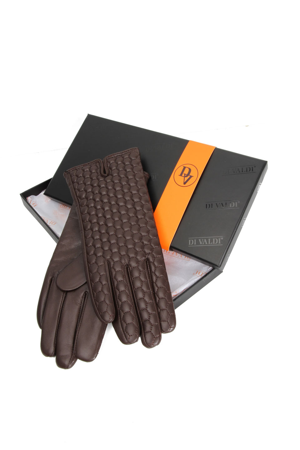LISA LEATHER GLOVES IN BROWN