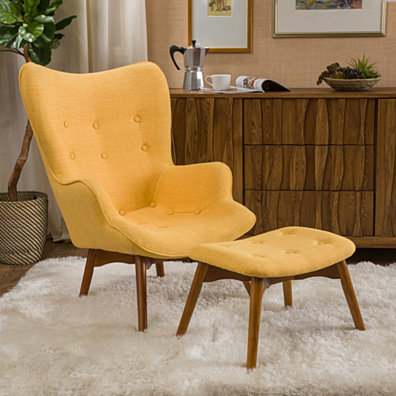 acantha Fabric Contour Chair w/ Footstool Set