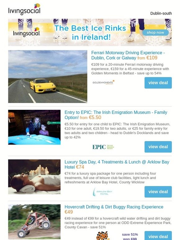 5cc178d9e16 LivingSocial - Ireland: Deals for you: Ferrari Driving Experience €109 |  The Irish Emigration Museum Tkt €5.50 | Arklow Bay Spa Day & 4 Treatments  €74 ...