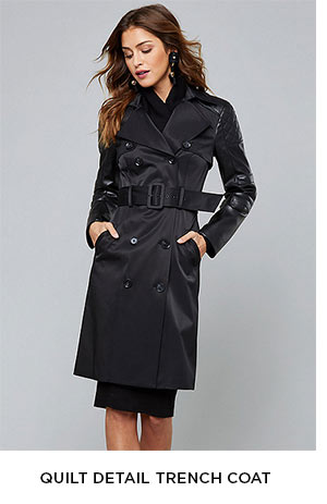 Quilt Detail Trench Coat