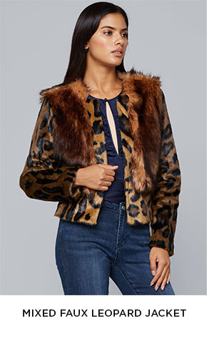 Mixed Faux Leopard Jacket