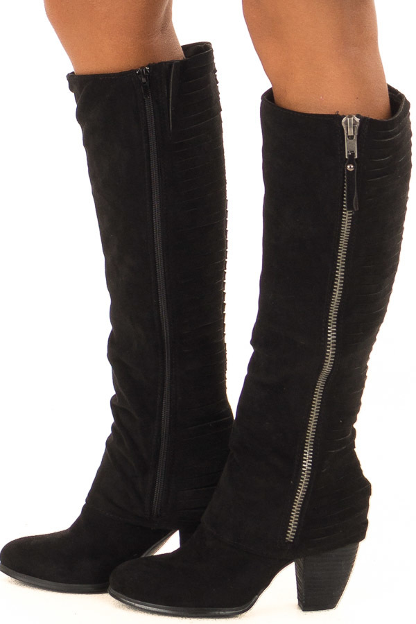 207b4905d2 Black Faux Suede Heeled Boots with Split Cut Detail ...