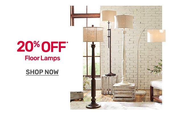 Get twenty percent off floor lamps.