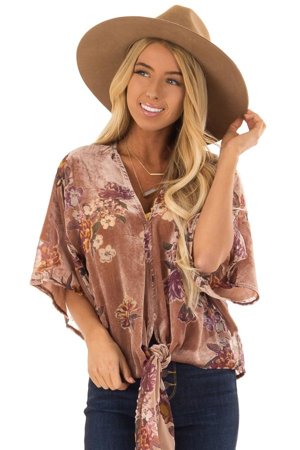 a8c63bdcf2175 ... Dusty Mauve Short Sleeve Top with Sheer Floral Print Details
