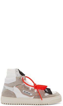 Off-White - White & Grey Low 3.0 Off Court High-Top Sneakers