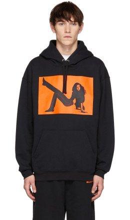 Calvin Klein Jeans Est. 1978 - Black & Orange Icon Printed Hoodie