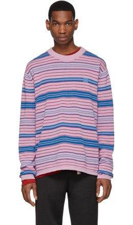 Acne Studios - Pink & Blue Stripe Nimah Sweater