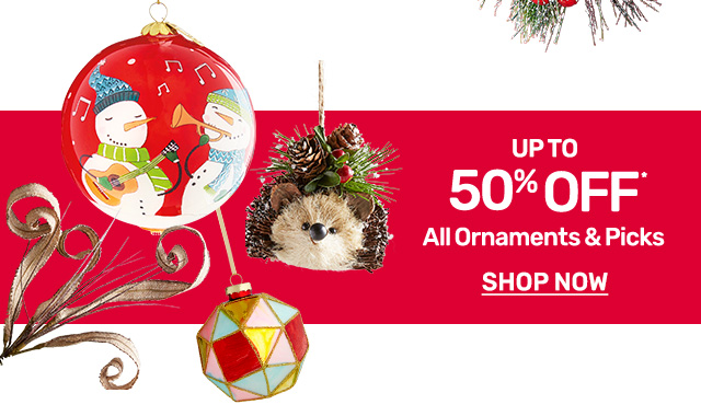 Shop and save up to fifty percent on all ornaments and picks!