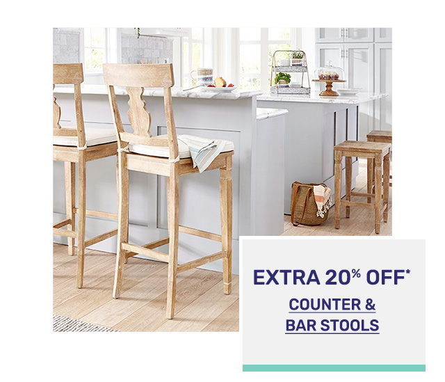 Save an extra twenty percent off counter and bar stools.