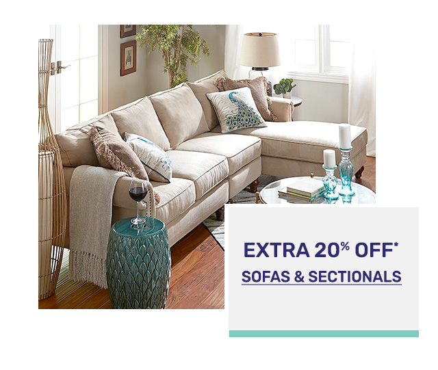 Save an extra twenty percent off sofas and sectionals.