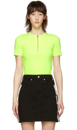 Helmut Lang - Yellow Essential Zip Tee Sweater