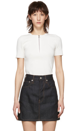Helmut Lang - White Essential Zip Tee Sweater