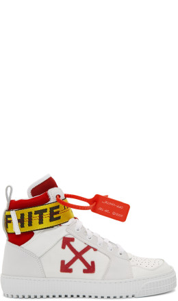 Off-White - White & Red Industrial High-Top Sneakers