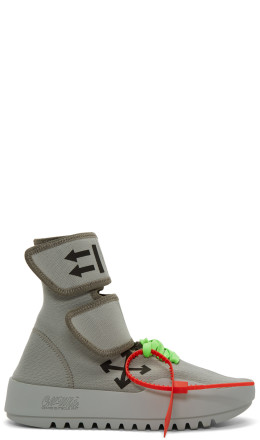 Off-White - Grey Moto Wrap High-Top Sneakers