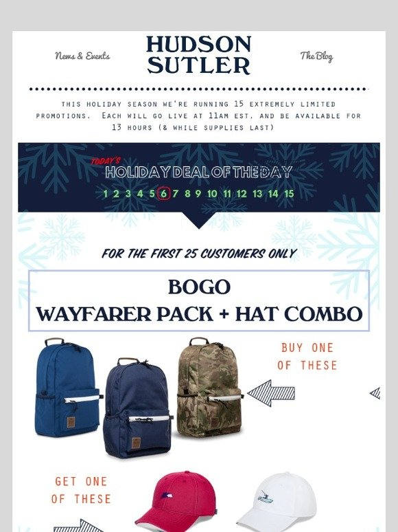 Hudson Sutler: Holiday Deal #6 - Get a FREE Hat when you buy