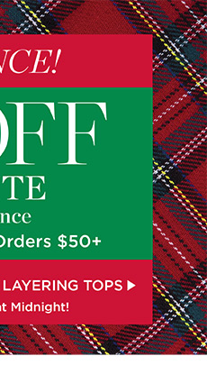 Last Chance! 50% off entire site, plus free shipping on orders of $50 or more. Promo code ASANTA. Shop Layering Tops.