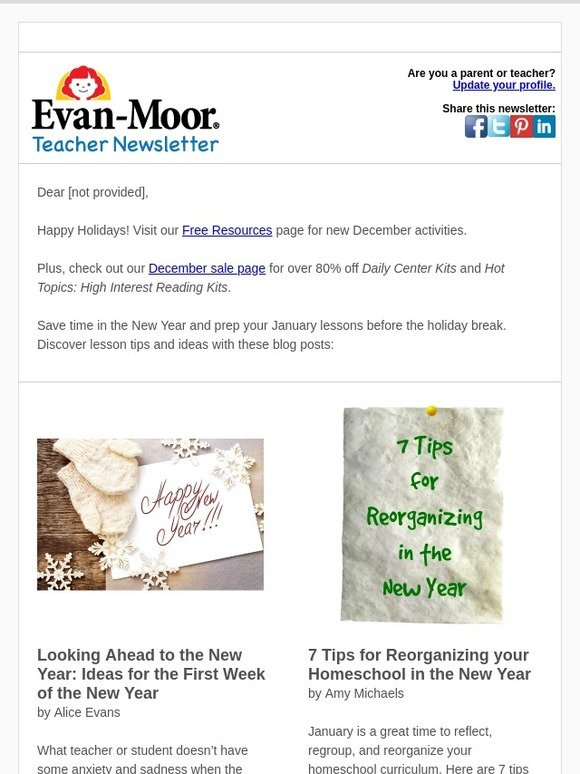 Evan-Moor Educational Publishers: Free January lessons and