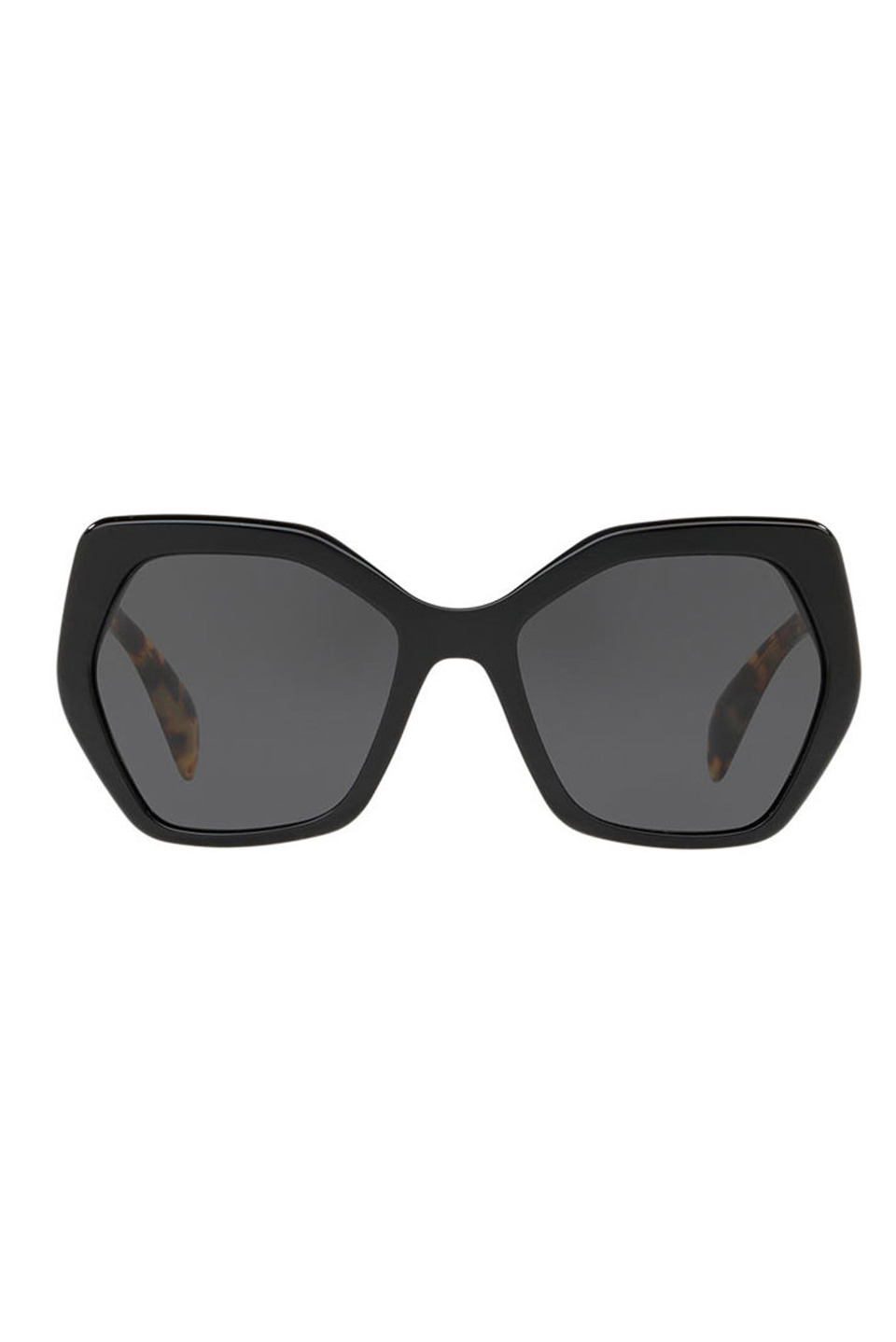 Ladies Sunglasses in Black and Light Havana Arms and Gray