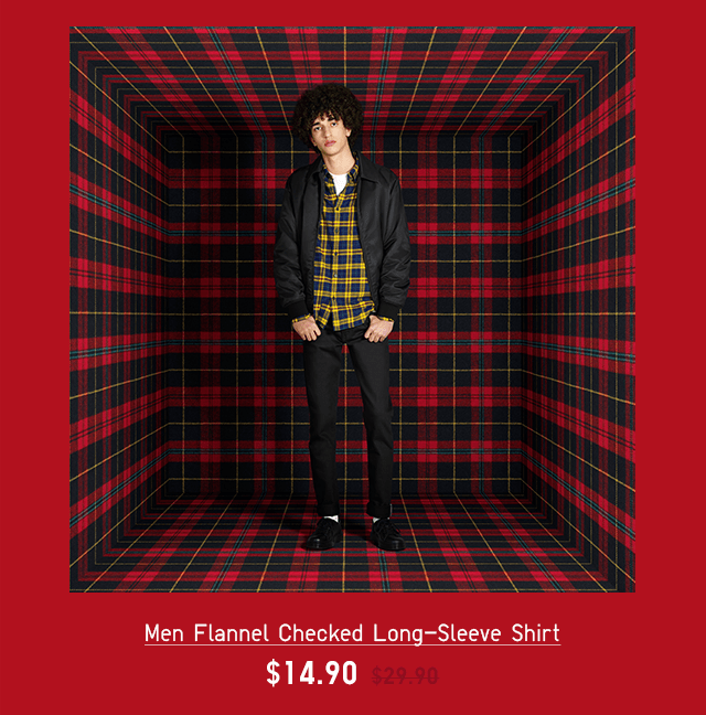 MEN FLANNEL CHECKED LONG-SLEEVE SHIRT $14.90