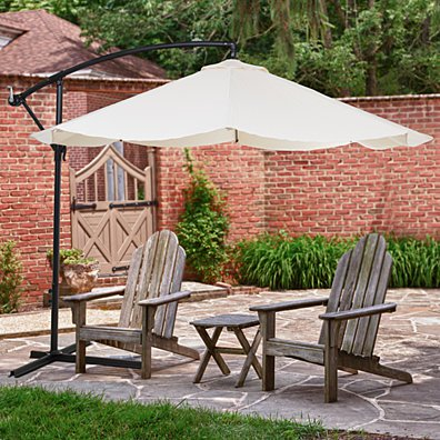 Offset 10 Foot Aluminum Hanging Patio Umbrella - Tan with Base Bars