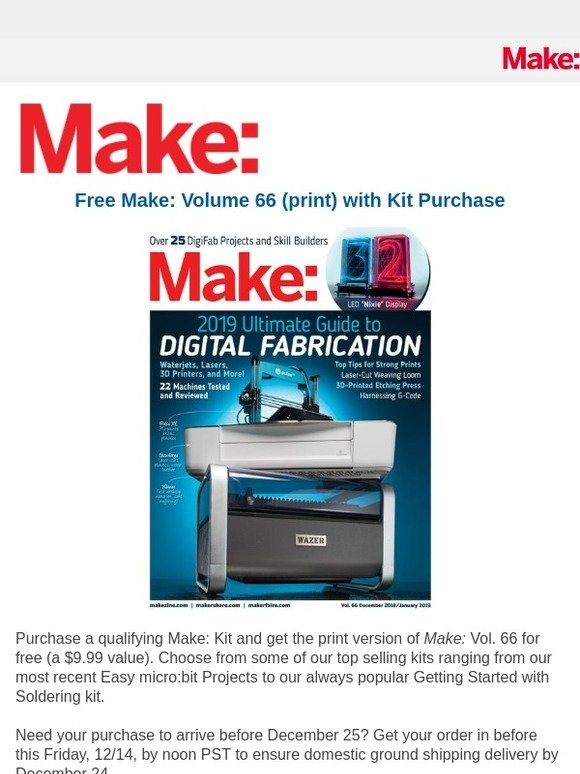 Maker Shed: Free Make: Volume 66 with Kit Purchase | Milled