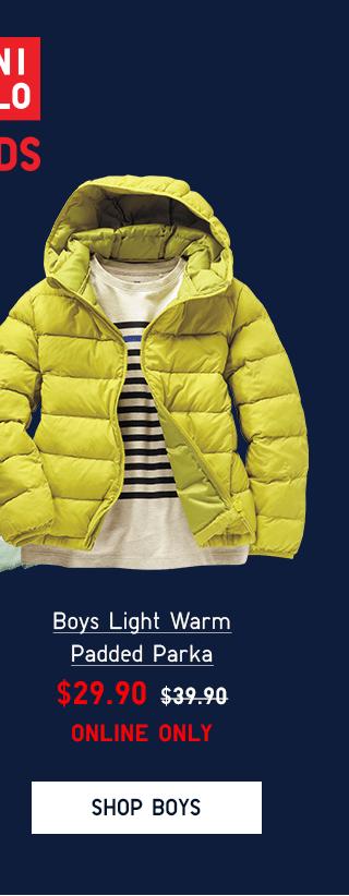 BOYS LIGHT WARM PADDED PARKA $29.90 - SHOP BOYS