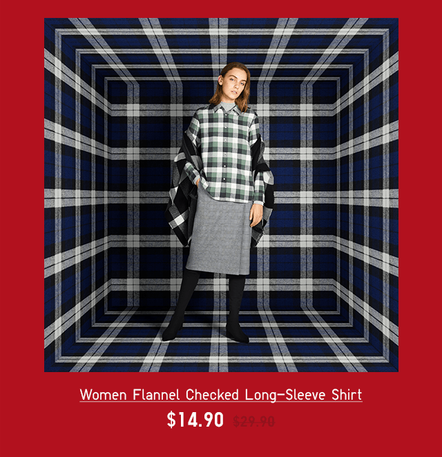 WOMEN FLANNEL CHECKED LONG-SLEEVE SHIRT $14.90