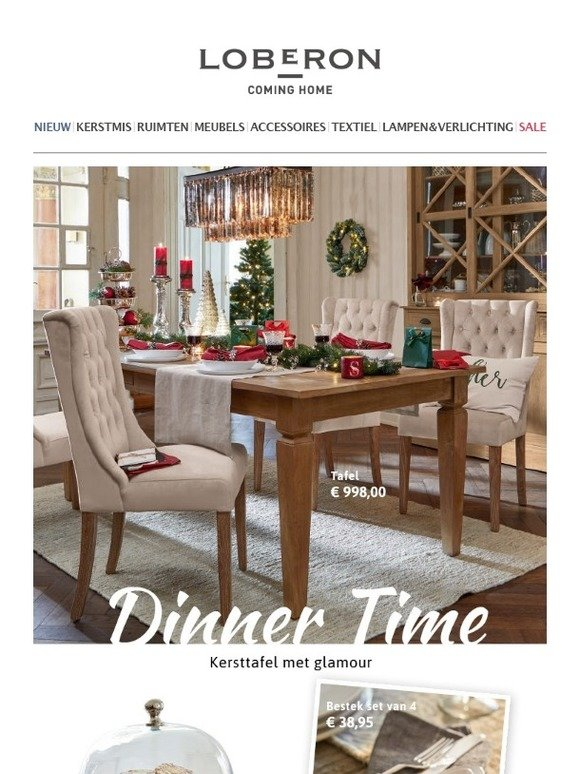 loberonnl dinner time kersttafel met glamour milled