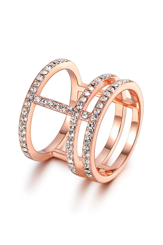Rose Gold & Swarovski Crystal Cuff Ring