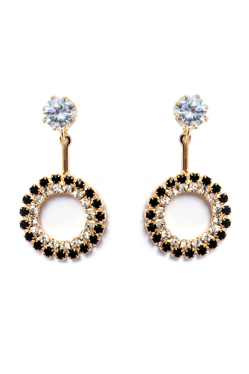 Swarovskis Open Circle Drop Earrings in 18K Gold and Black