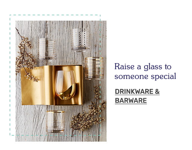 Raise a glass to someone special. Shop drinkware and barware!